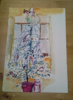Day 9 a watercolour of our family Christmas tree in 1976. Part of my portfolio going to Camberwell college foundation course.