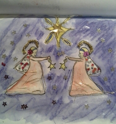 Day 17 I wear Christmas themed earring during December. This drawing is based on one pair