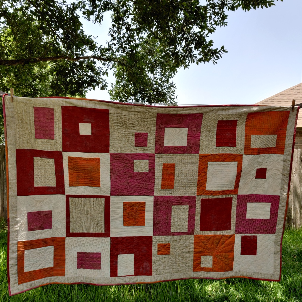 Full quilt called Happy Blocks, All quilting done by walking foot.